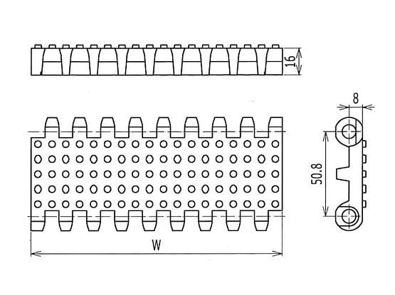 Ilustrasi Ukuran Plastic Modular Belt 800 Nub Top | Trindo Sukses Mandiri