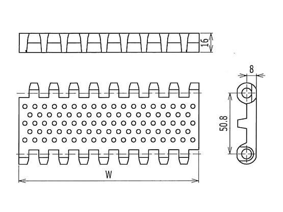 Ilustrasi Ukuran Plastic Modular Belt 800 Perforated Flat Top Round Holes | Trindo Sukses Mandiri