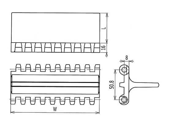 Ilustrasi Ukuran Plastic Modular Belt 800 Streamline Flights | Trindo Sukses Mandiri