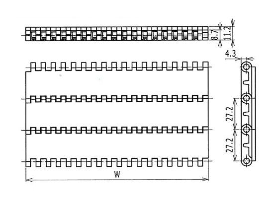 Ilustrasi Ukuran Plastic Modular Belt 900 Flat Friction Top | Trindo Sukses Mandiri