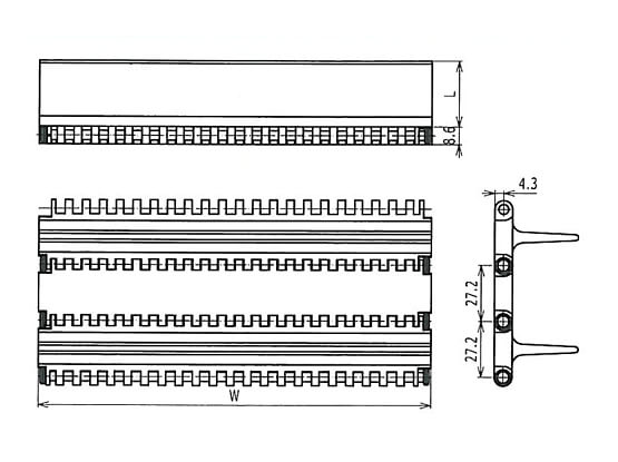 Ilustrasi Ukuran Plastic Modular Belt 900 Flat Top Base Flights | Trindo Sukses Mandiri