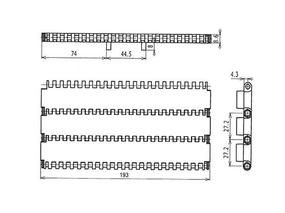 Ilustrasi Ukuran Plastic Modular Belt 900 Flat Top MTWP | Trindo Sukses Mandiri