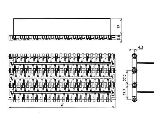 Ilustrasi Ukuran Plastic Modular Belt 900 Flush Grid Base Flights | Trindo Sukses Mandiri
