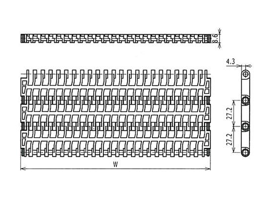 Ilustrasi Ukuran Plastic Modular Belt 900 Flush Grid | Trindo Sukses Mandiri
