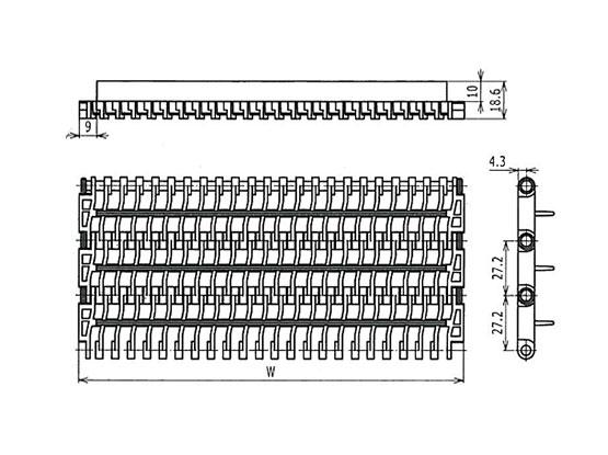 Ilustrasi Ukuran Plastic Modular Belt 900 Open Grid | Trindo Sukses Mandiri