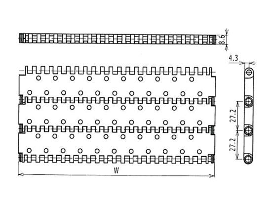 Ilustrasi Ukuran Plastic Modular Belt 900 Perforated Flat Top | Trindo Sukses Mandiri