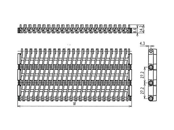 Ilustrasi Ukuran Plastic Modular Belt 900 Raised Rib | Trindo Sukses Mandiri