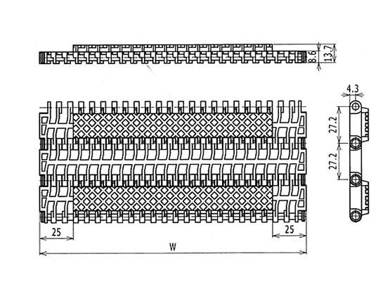 Ilustrasi Ukuran Plastic Modular Belt 900 Square Friction Top | Trindo Sukses Mandiri