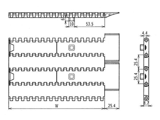 Ilustrasi Ukuran Plastic Modular Belt FFTP1000 | Trindo Sukses Mandiri