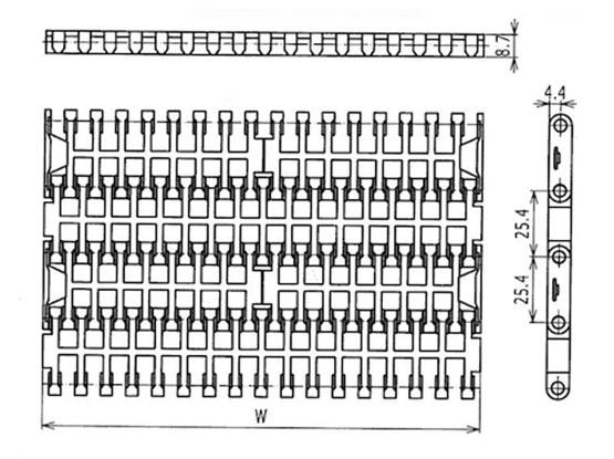 Ilustrasi Ukuran Plastic Modular Belt FG1000 | Trindo Sukses Mandiri
