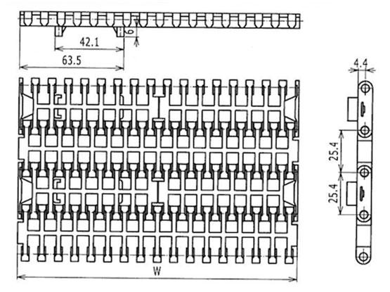 Ilustrasi Ukuran Plastic Modular Belt FGDP1000 | Trindo Sukses Mandiri