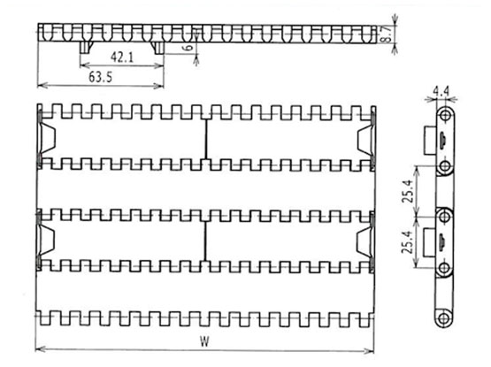 Ilustrasi Ukuran Plastic Modular Belt FTDP1000 | Trindo Sukses Mandiri