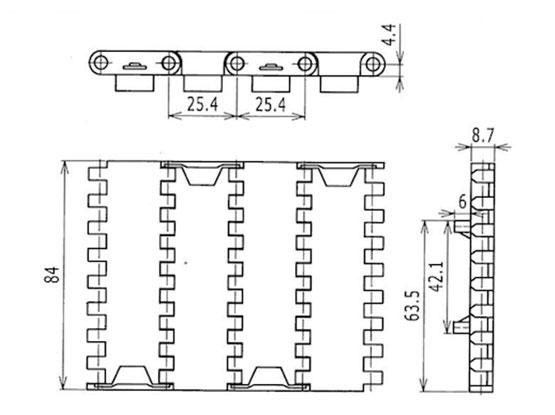 Ilustrasi Ukuran Plastic Modular Belt FTDP1000MTW | Trindo Sukses Mandiri