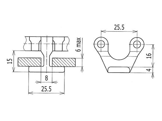 Ilustrasi Ukuran Plastic Modular Belt HDTM2500 | Trindo Sukses Mandiri