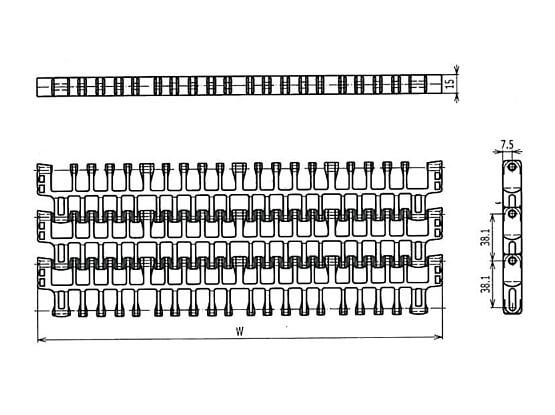 Ilustrasi Ukuran Plastic Modular Belt IS615 Radius Flush Grid | Trindo Sukses Mandiri