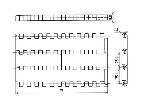 Ilustrasi Ukuran Plastic Modular Belt QNB Flat Top | Trindo Sukses Mandiri