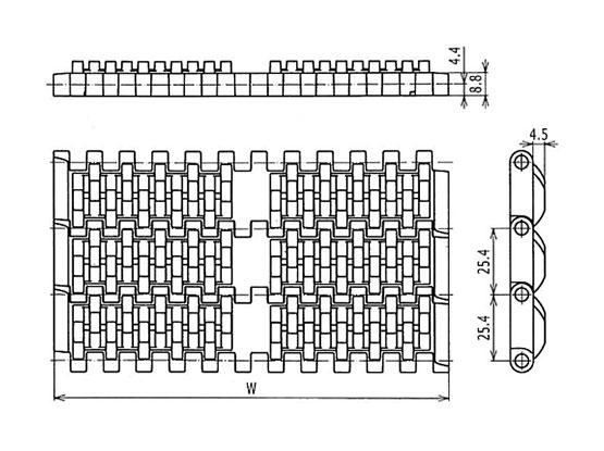 Ilustrasi Ukuran Plastic Modular Belt QNB Friction Top | Trindo Sukses Mandiri