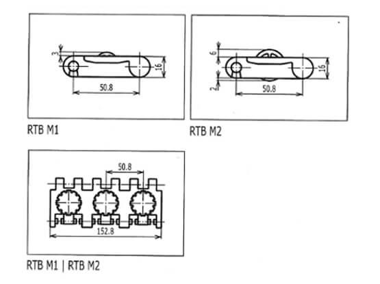 Ilustrasi Ukuran Plastic Modular Belt RTB Roller Top | Trindo Sukses Mandiri