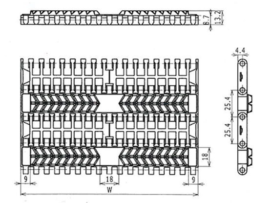 Ilustrasi Ukuran Plastic Modular Belt SG1000 | Trindo Sukses Mandiri
