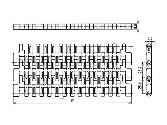 Ilustrasi Ukuran Plastic Modular Belt SNB M2 (A) | Trindo Sukses Mandiri