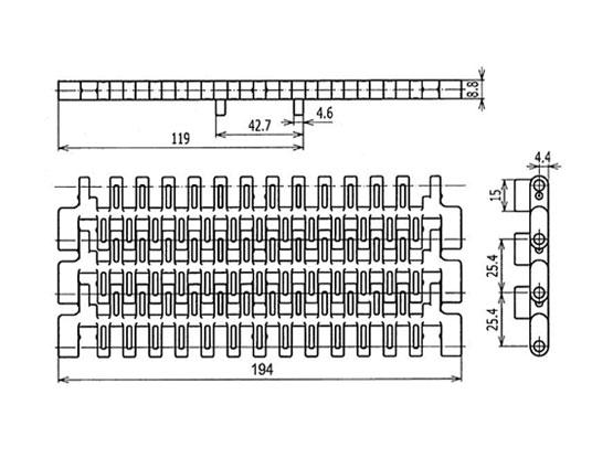 Ilustrasi Ukuran Plastic Modular Belt SNB M2 (B) | Trindo Sukses Mandiri