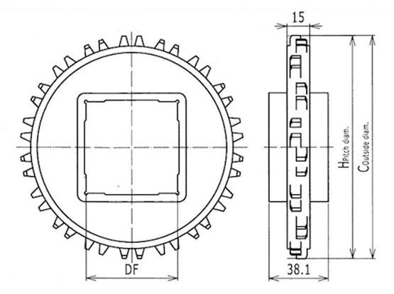 Ilustrasi Ukuran Plastic Modular Belt Classic Sprocket 1000 | Trindo Sukses Mandiri