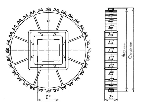 Ilustrasi Ukuran Plastic Modular Belt Classic Sprocket 1100 | Trindo Sukses Mandiri