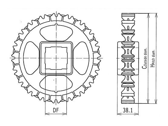 Ilustrasi Ukuran Plastic Modular Belt Classic Sprocket 1600   Trindo Sukses Mandiri