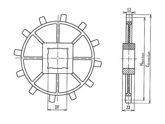 Ilustrasi Ukuran Plastic Modular Belt Classic Sprocket 2400 | Trindo Sukses Mandiri