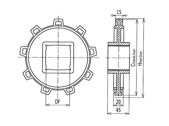Ilustrasi Ukuran Plastic Modular Belt Classic Sprocket 4809 | Trindo Sukses Mandiri