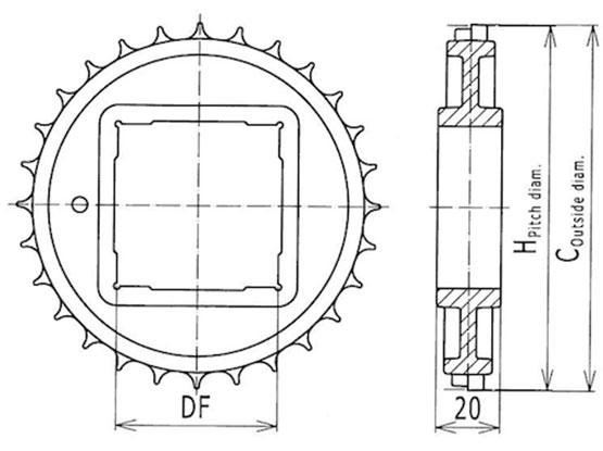 Ilustrasi Ukuran Plastic Modular Belt Classic Sprocket 500 | Trindo Sukses Mandiri