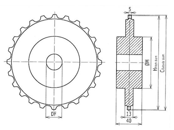 Ilustrasi Ukuran Plastic Modular Belt Classic Sprocket 5930 | Trindo Sukses Mandiri