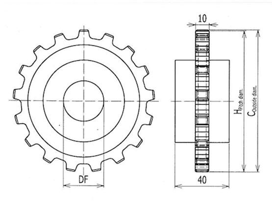 Ilustrasi Ukuran Plastic Modular Belt Classic Sprocket 5935MTW | Trindo Sukses Mandiri