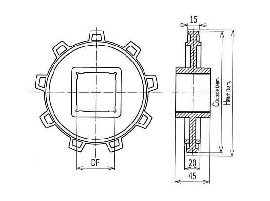 Ilustrasi Ukuran Plastic Modular Belt Classic Sprocket 5996 | Trindo Sukses Mandiri