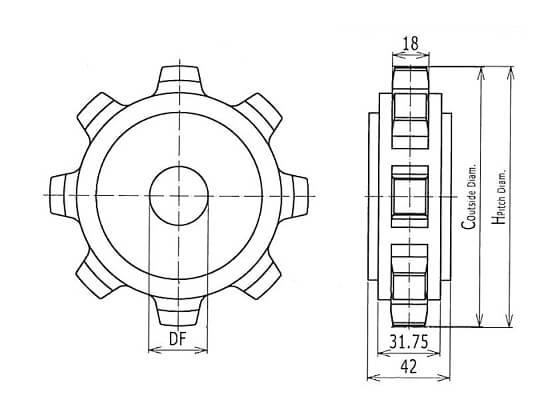 Ilustrasi Ukuran Plastic Modular Belt Classic Sprocket 620 | Trindo Sukses Mandiri