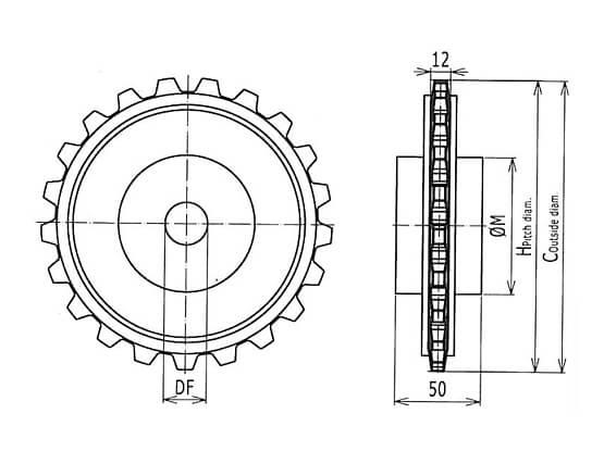 Ilustrasi Ukuran Plastic Modular Belt Classic Sprocket 7705 | Trindo Sukses Mandiri