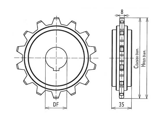 Ilustrasi Ukuran Plastic Modular Belt Classic Sprocket 7956 | Trindo Sukses Mandiri