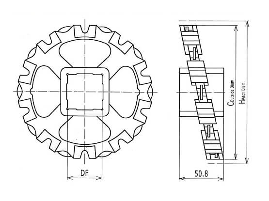 Ilustrasi Ukuran Plastic Modular Belt Classic Sprocket 850 | Trindo Sukses Mandiri