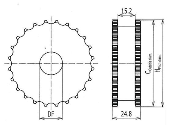 Ilustrasi Ukuran Plastic Modular Belt Classic Sprocket 9525 | Trindo Sukses Mandiri