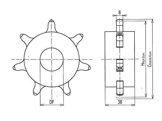 Ilustrasi Ukuran Plastic Modular Belt Classic Sprocket IS615 | Trindo Sukses Mandiri