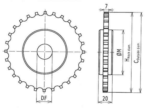 Ilustrasi Ukuran Plastic Modular Belt Classic Sprocket M-SNB M3 | Trindo Sukses Mandiri