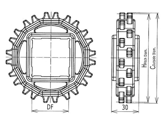 Ilustrasi Ukuran Plastic Modular Belt Classic Sprocket M2500 | Trindo Sukses Mandiri