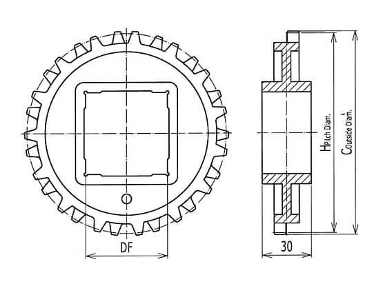 Ilustrasi Ukuran Plastic Modular Belt Classic Sprocket M2540 | Trindo Sukses Mandiri