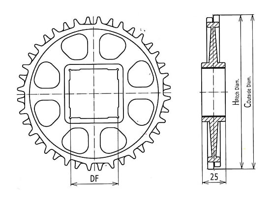 Ilustrasi Ukuran Plastic Modular Belt Classic Sprocket S2400 | Trindo Sukses Mandiri