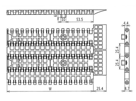 Ilustrasi Ukuran Plastic Modular Belt FFGP1000 | Trindo Sukses Mandiri