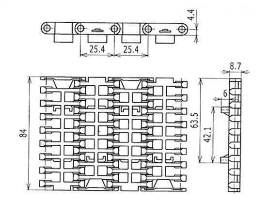 Ilustrasi Ukuran Plastic Modular Belt FGDP1000MTW | Trindo Sukses Mandiri