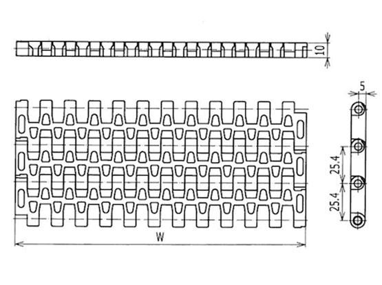 Ilustrasi Ukuran Plastic Modular Belt FGM2533 | Trindo Sukses Mandiri