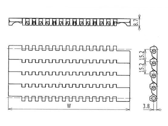 Ilustrasi Ukuran Plastic Modular Belt Flat Top 1100 | Trindo Sukses Mandiri