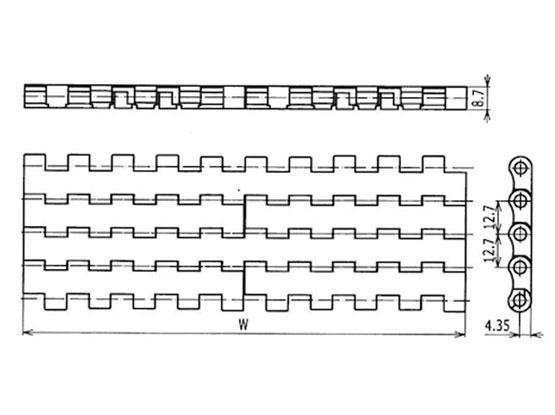 Ilustrasi Ukuran Plastic Modular Belt Flat Top 2120 | Trindo Sukses Mandiri