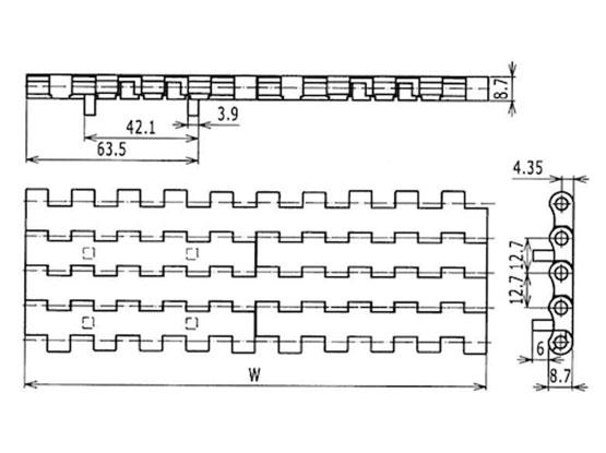 Ilustrasi Ukuran Plastic Modular Belt Flat Top 2120 With Positrack | Trindo Sukses Mandiri